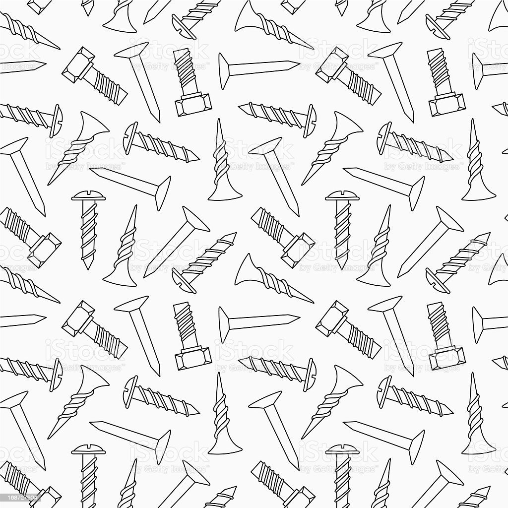 Nails and screws seamless pattern royalty-free stock vector art