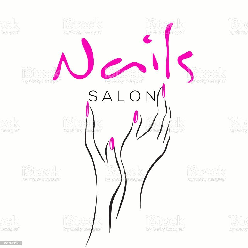 nails art salon vector illustrationbeautiful woman hands with elegant pink nail polish manicure