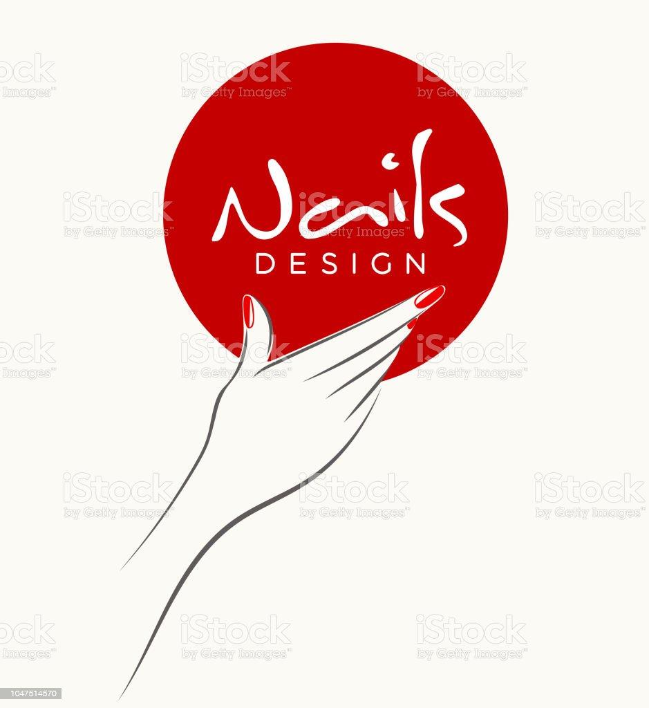 Nails Art Salon Vector Illustrationwoman Hand With Red Nail Polish