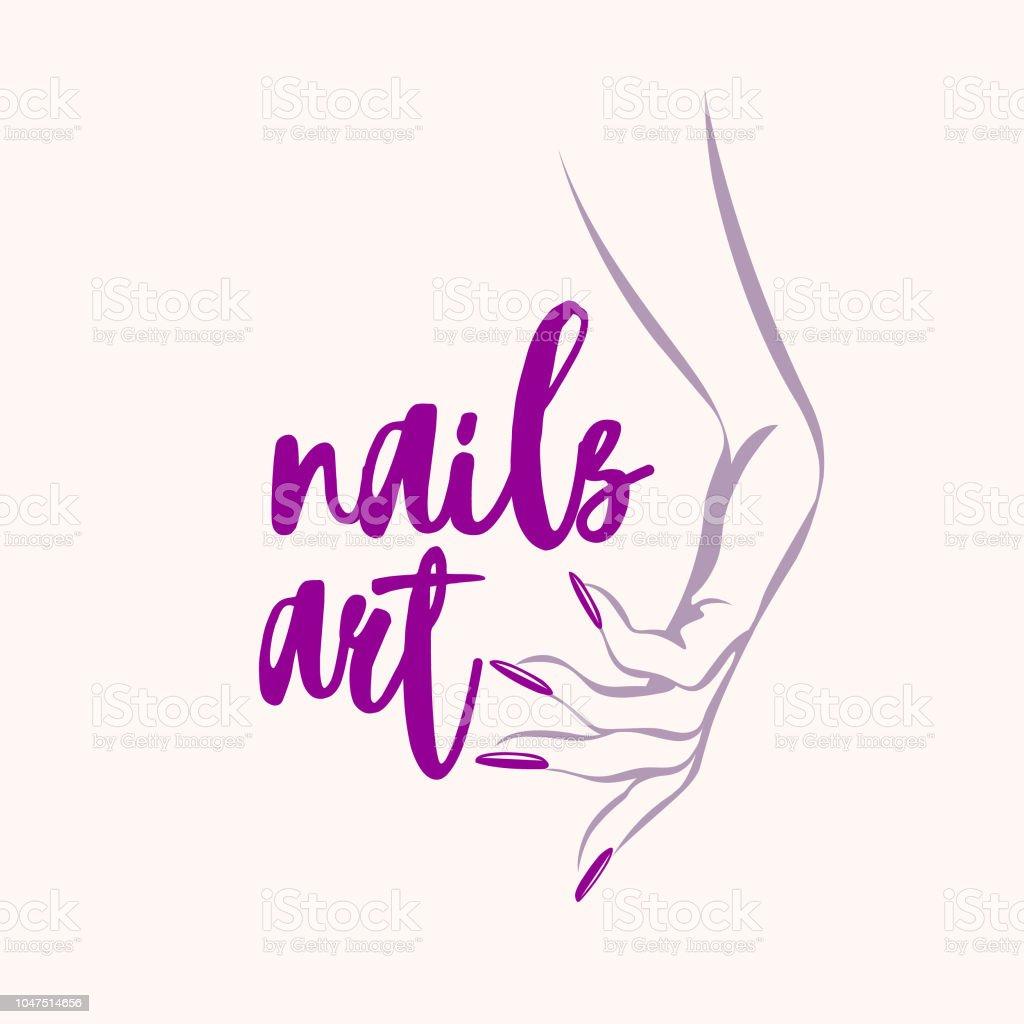 Nail Art Vector: 指甲藝術向量插圖女子手用紫色指甲油指甲向量圖形及更多人圖片