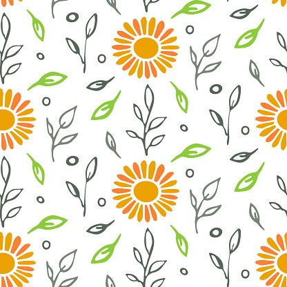 Naive seamless pattern. Hand drawn ink brush stroke leaves, sun flower. White background. Vector