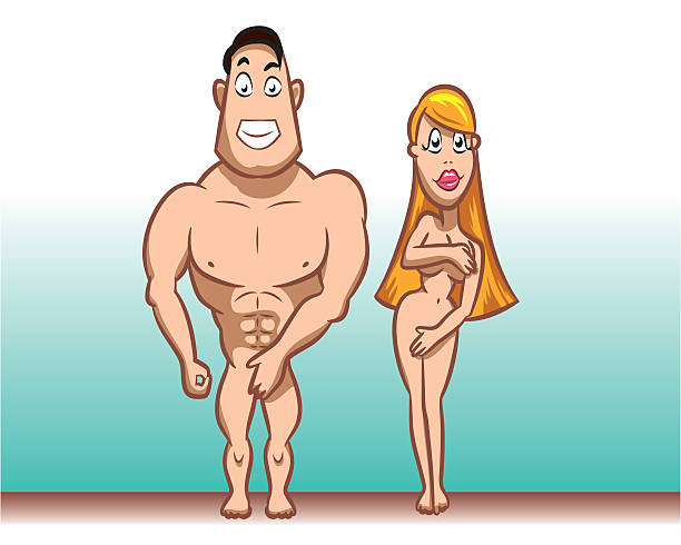 Naked characters vector art illustration