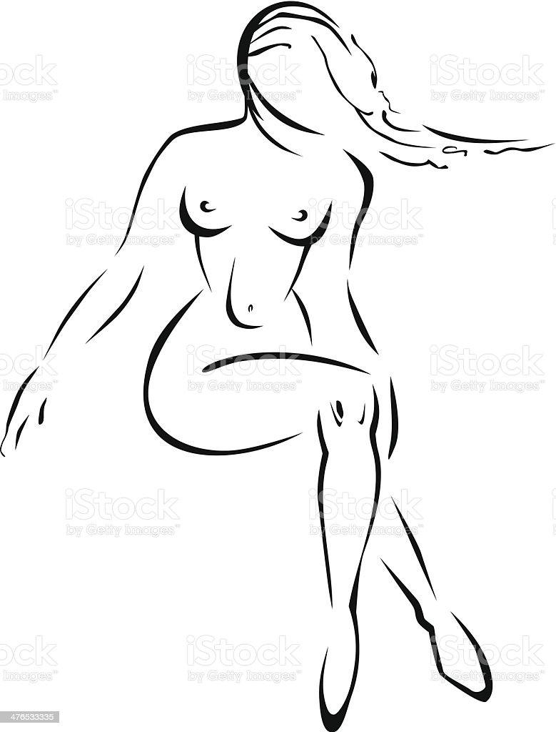 Naked girl royalty-free stock vector art
