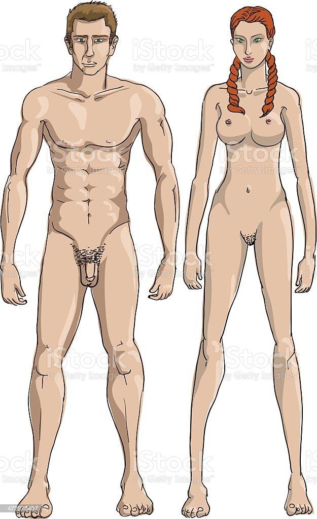 Cartoon man naked woman