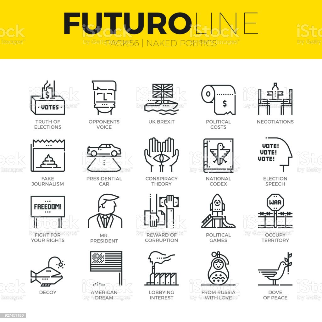 Naked Politics Futuro Line Icons vector art illustration