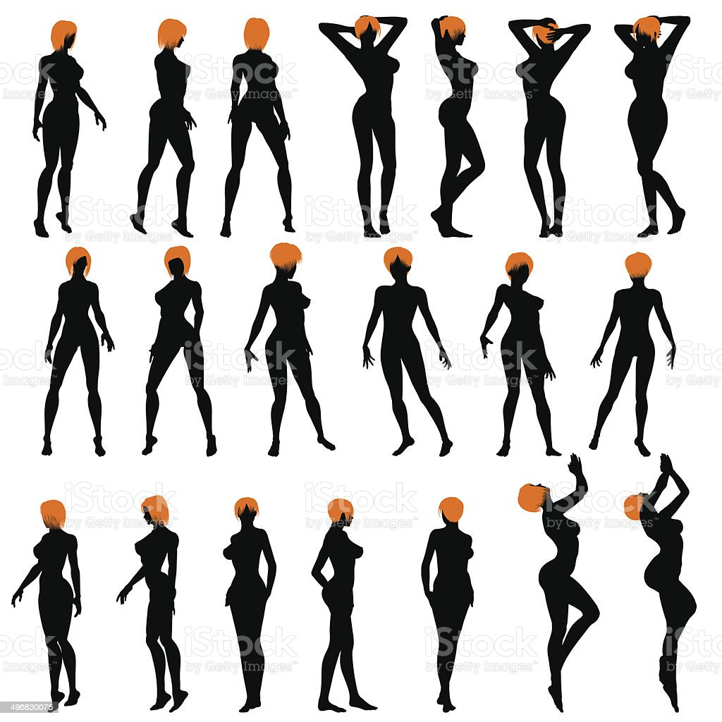 Naked sexy girls silhouette set vector art illustration
