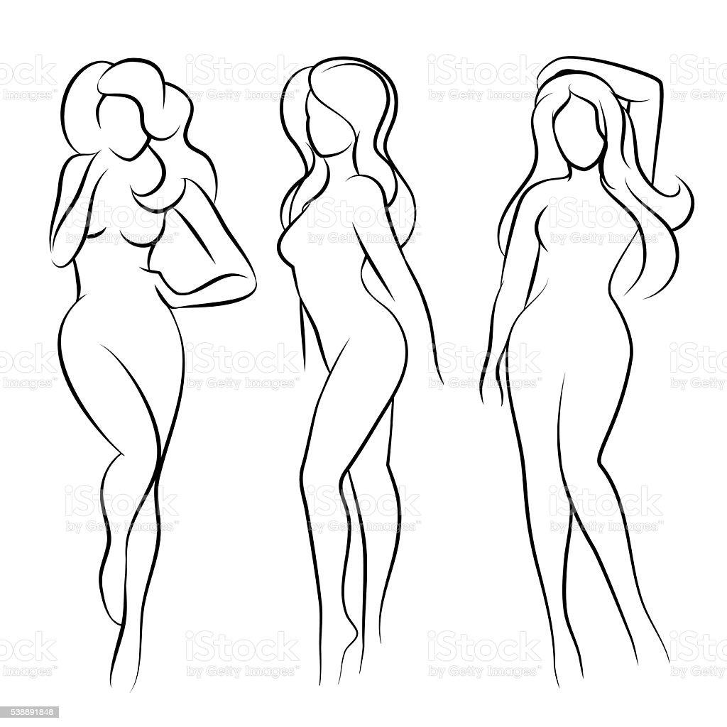 Naked woman silhouette vector art illustration