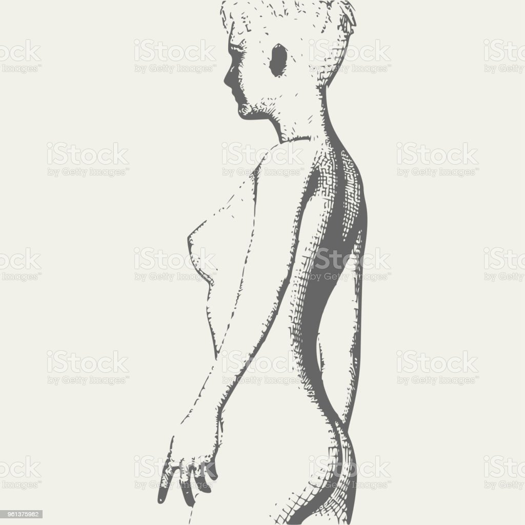 Naked Young Woman Sketch Stock Vector Art & More Images of Abstract ...