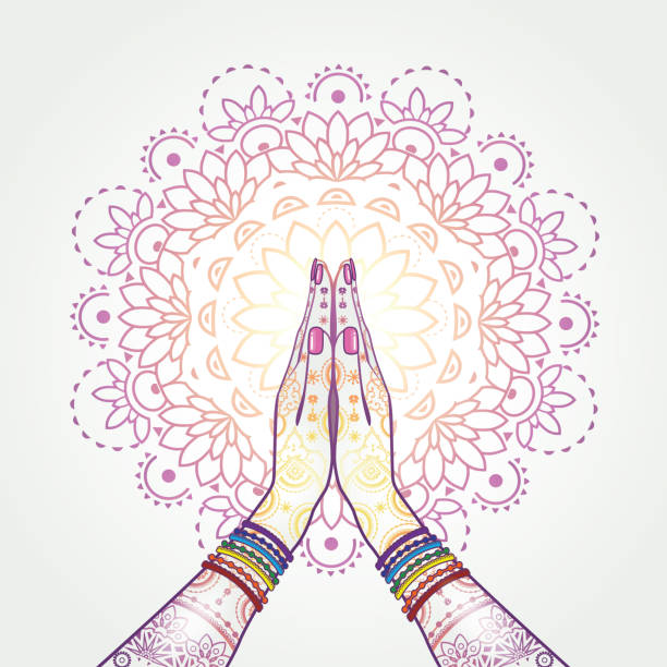 Namaste Decorated Hands decorated greeting position namaste-transparency blending effects and gradient mesh-EPS 10. prayer pose yoga stock illustrations