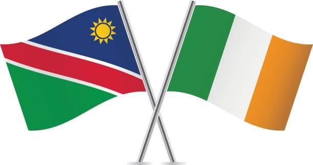 ilustraciones, imágenes clip art, dibujos animados e iconos de stock de banderas de nambia e irlanda. ilustración de vector. - bandera irlandesa
