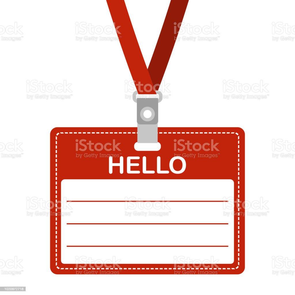 Ilustración de Etiqueta Nombre Con Hola Tarjeta De Identificación ...