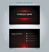 Namecard template technology red and black pattern background. Vector illustration