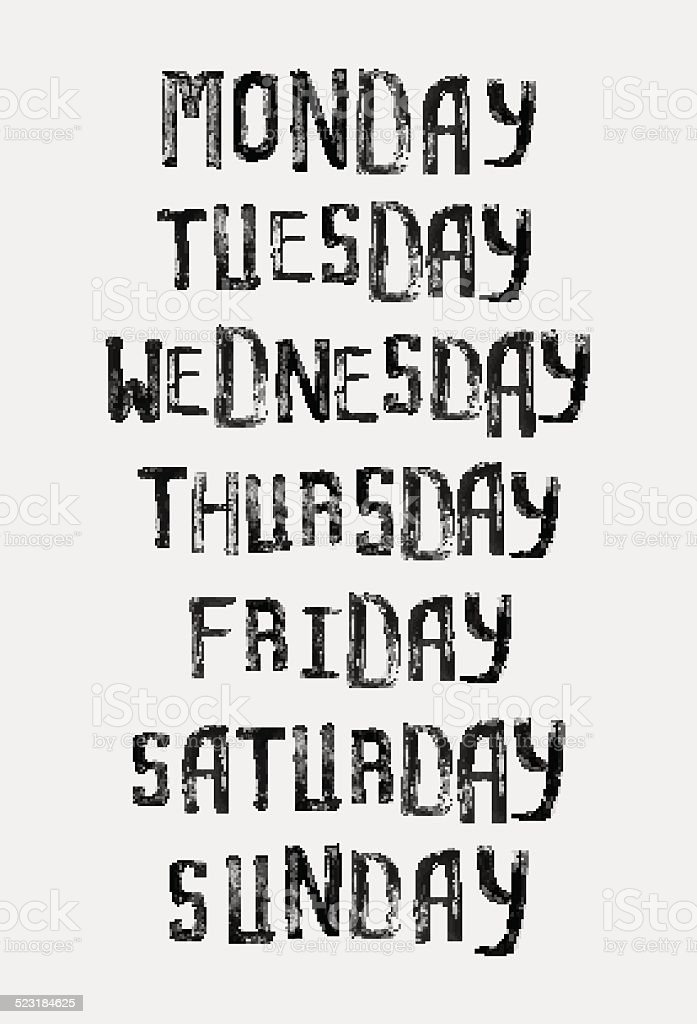 Names of days of the week, vintage grunge stamp typographic vector art illustration