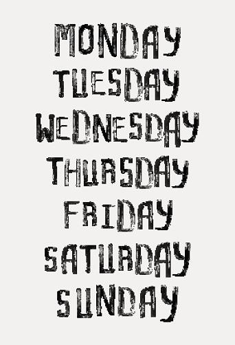 Names Of Days Of The Week Vintage Grunge Stamp Typographic