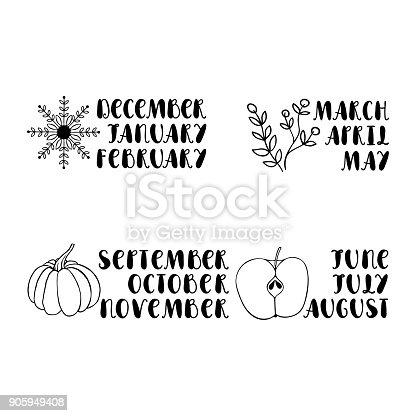 Names of months on white background. Hand drawn font. Design element for calendar, postcard, greeting card.