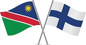 Namibia and Finland flags.Vector illustration.