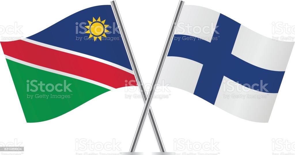 Namibia and Finland flags.Vector illustration. vector art illustration