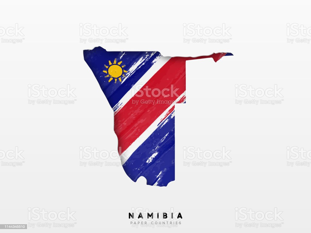 Namibia Detailed Map With Flag Of Country Painted In