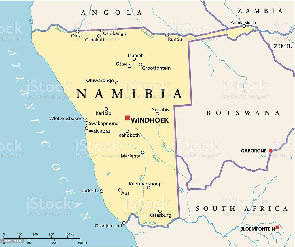 Namibia Political Map vector art illustration
