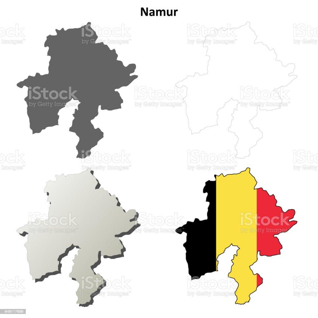 Belgien Karte Umriss.Namur Umriss Karte Set Belgische Version Stock Vektor Art Und Mehr