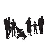 A vector silhouette illustration of a multi-generation family including grandpa holding hands with a young boy, grandma walking with a cane, a mother pushing a toddler in a stroller, and a father carrying a baby in a backpack.