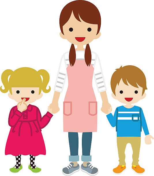nanny and two children - babysitter stock illustrations, clip art, cartoons, & icons