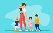 Nanny babysitter with group of kids or young mother of many children. A woman carries a baby boy and holding hand of a girl. Nearby are two boys. Four children of different ages. Vector illustration.