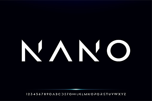 Nano, a modern minimalist futuristic alphabet font design