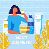 Nano Cosmetics for Body Care Advertising Poster. Flat Cartoon Woman Testing Spray for Face Treatment. Shampoo, Cream, for Body, Toothpaste Cosmetics. Vector Illustration with Foliage Design