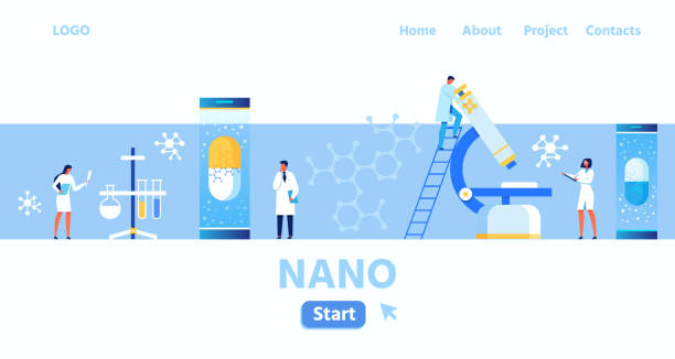 Nano Laboratory and Research Centre Landing Page Nano Laboratory and Research Centre Flat Cartoon Landing Page with Place for Logo. Scientist Team Working on Creation New Drugs and Materials. Biology, Genetic and Microbiology. Vector Illustration medical research stock illustrations