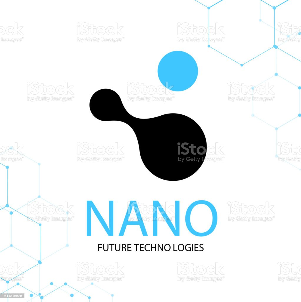 Nano logo - nanotechnology. Template design of logotype. Vector presentation. vector art illustration