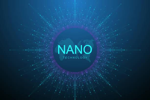 Nano-Technologien abstrakten Hintergrund. Cyber-Technologie-Konzept. Künstliche Intelligenz, virtuelle Realität, Bionik, Robotik, globales Netzwerk, Mikroprozessor, Nano-Roboter. Vektorillustration, Banner. – Vektorgrafik
