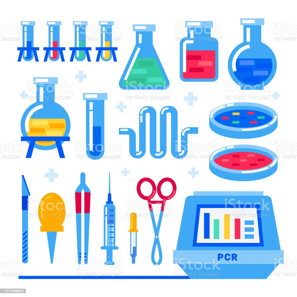 Nanotechnology and biochemistry. Polymerase chain reaction PCR machine and Laboratory equipment. Flask, vial, test-tube, glass retorts. Human genome sequencing project. Flat style vector illustration. vector art illustration