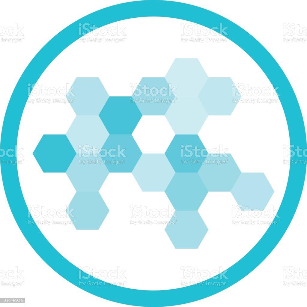 Nanotechnology Blue Round Icon vector art illustration