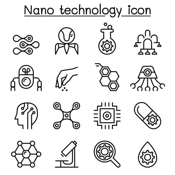 Nanotechnology icon set in thin line  style Nanotechnology icon set in thin line  style nanoparticle stock illustrations
