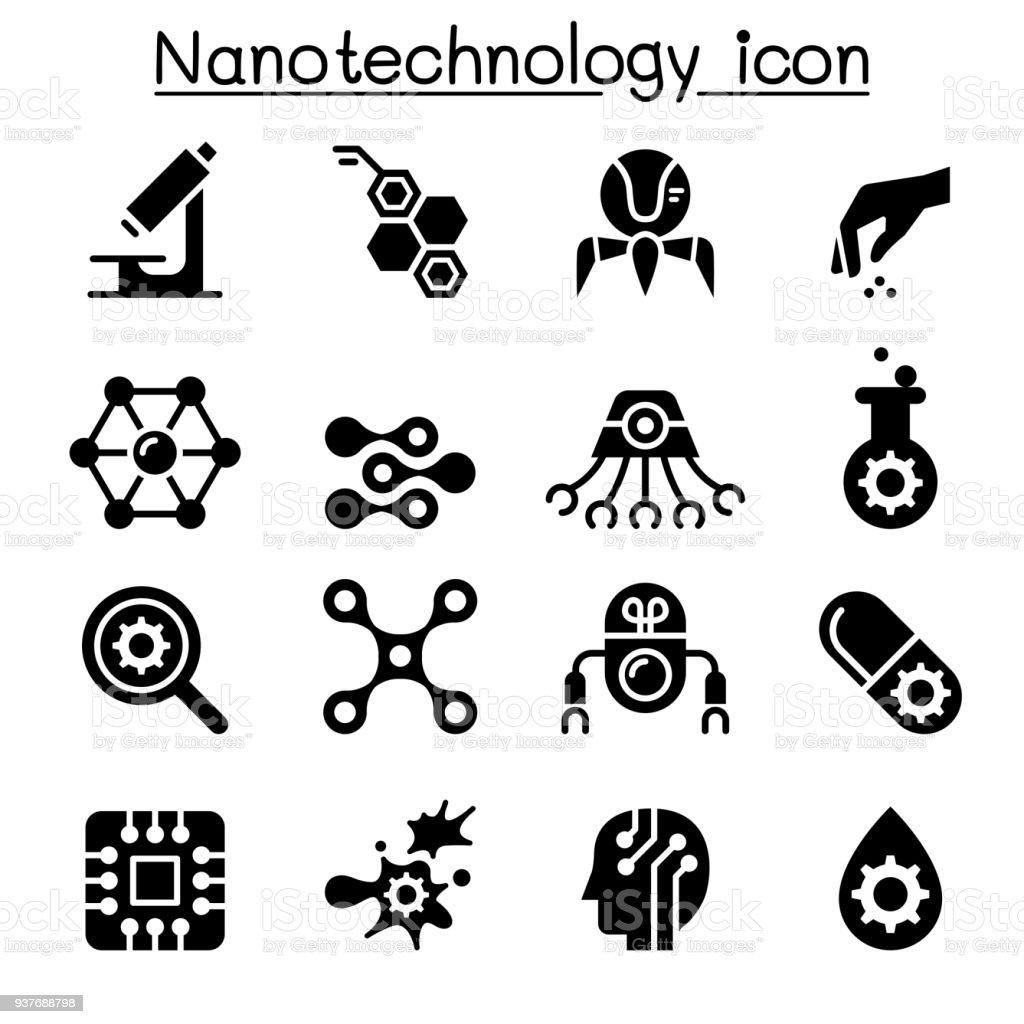 Nanotechnology icon set vector art illustration