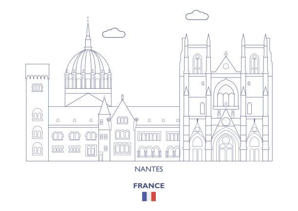 illustrations, cliparts, dessins animés et icônes de skyline de ville de nantes, france - nantes