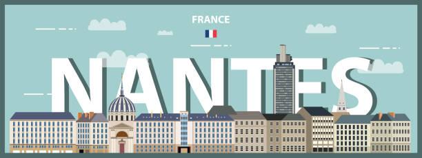 illustrations, cliparts, dessins animés et icônes de affiche colorée de paysage urbain de nantes. illustration détaillée de vecteur - nantes