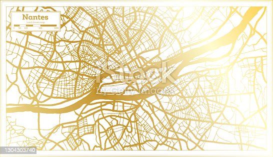istock Nantes France City Map in Retro Style in Golden Color. 1304303740