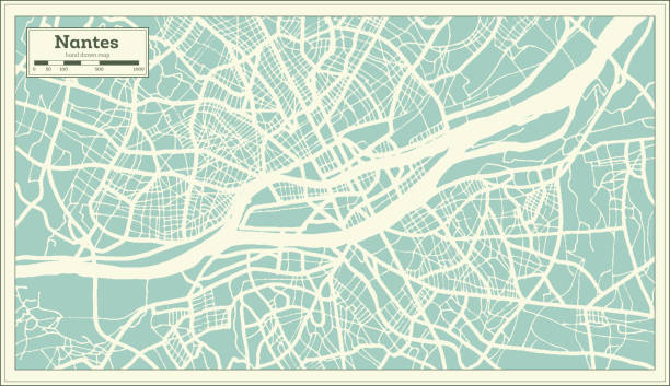 illustrations, cliparts, dessins animés et icônes de carte de nantes france ville en style rétro. plan de contour. - nantes