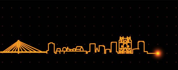 illustrations, cliparts, dessins animés et icônes de profil de nantes light streak skyline - nantes