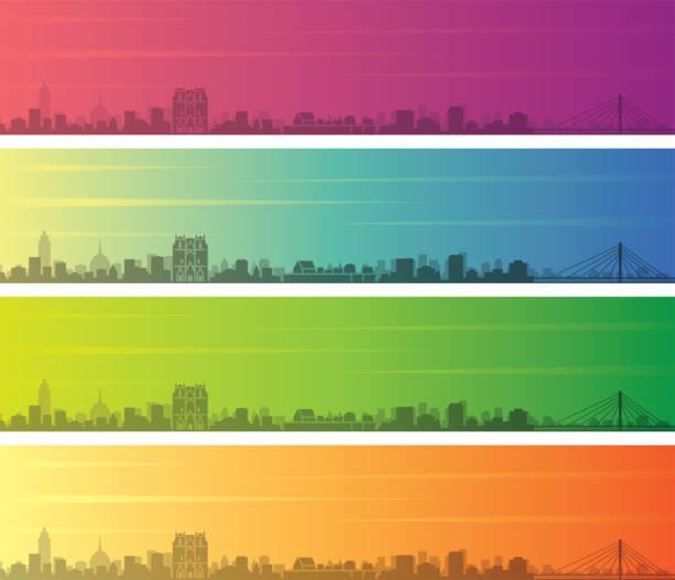 illustrations, cliparts, dessins animés et icônes de nantes multiple color gradient skyline bannière - nantes