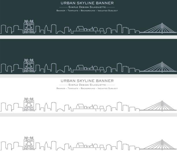 illustrations, cliparts, dessins animés et icônes de nantes bannière de profil skyline en ligne unique - nantes