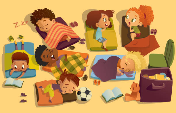 Nap time in the kindergarten. Group of multiracial girls and boys have a nip time at a colorfill nap mats. Preschool dream time. Two girls gossip during daytime sleep Nap time in the kindergarten. Group of multiracial girls and boys have a nip time at a colorfill nap mats. Preschool dream time. Two girls gossip during daytime sleep. elementary age stock illustrations