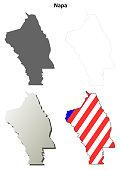 Napa County, California outline map set