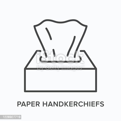 Napkin flat line icon. Vector outline illustration of dispenser with paper tissue. Hygiene thin linear pictogram.
