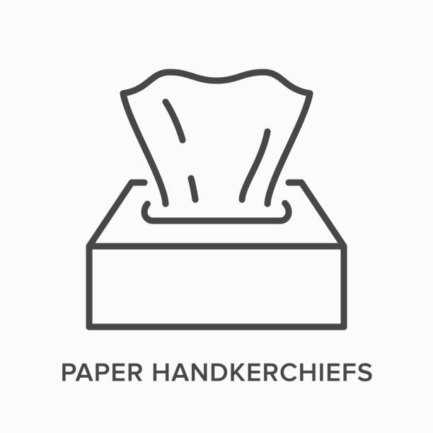 illustrazioni stock, clip art, cartoni animati e icone di tendenza di napkin flat line icon. vector outline illustration of dispenser with paper tissue. hygiene thin linear pictogram - carta velina