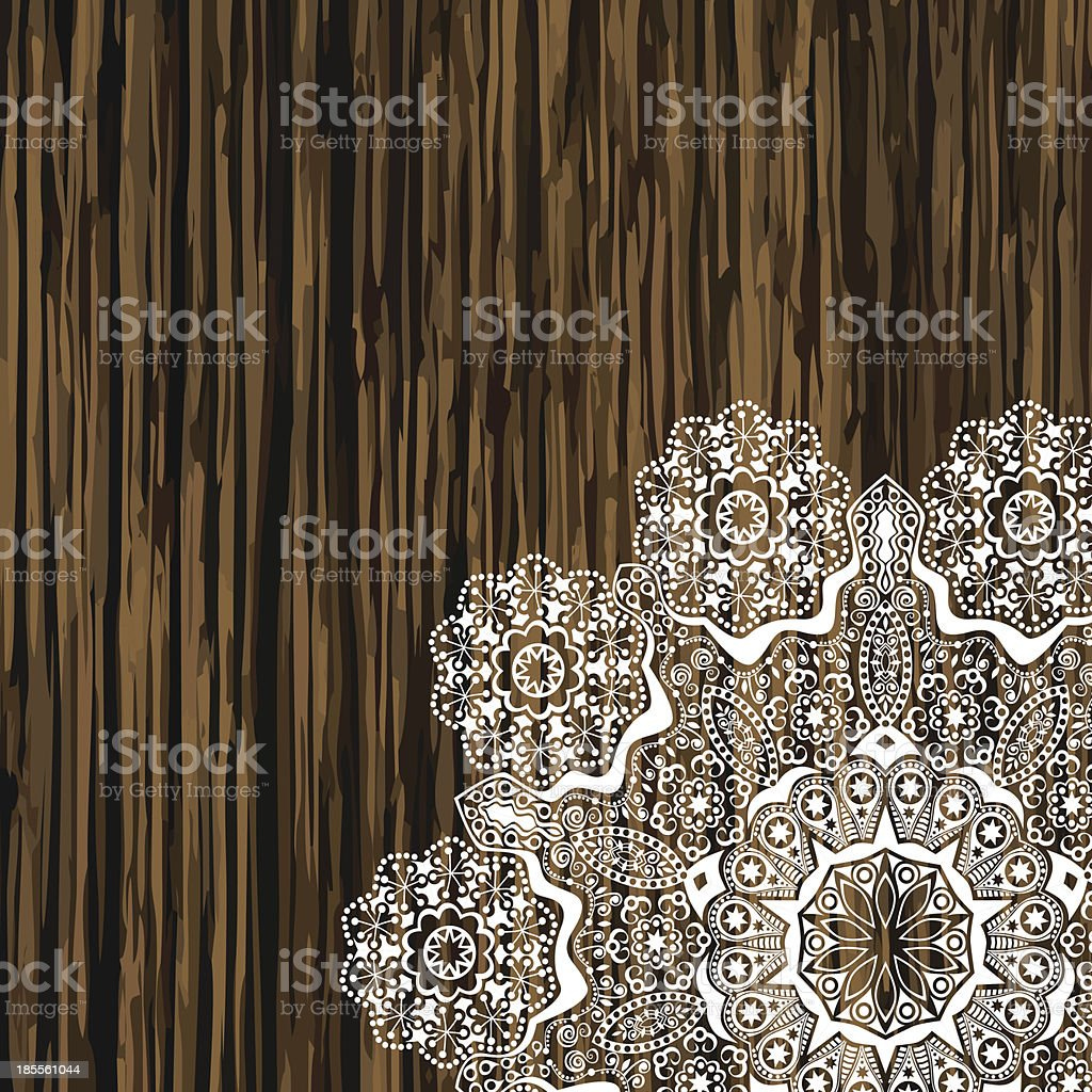 Napkin lace corner on a wooden table royalty-free stock vector art