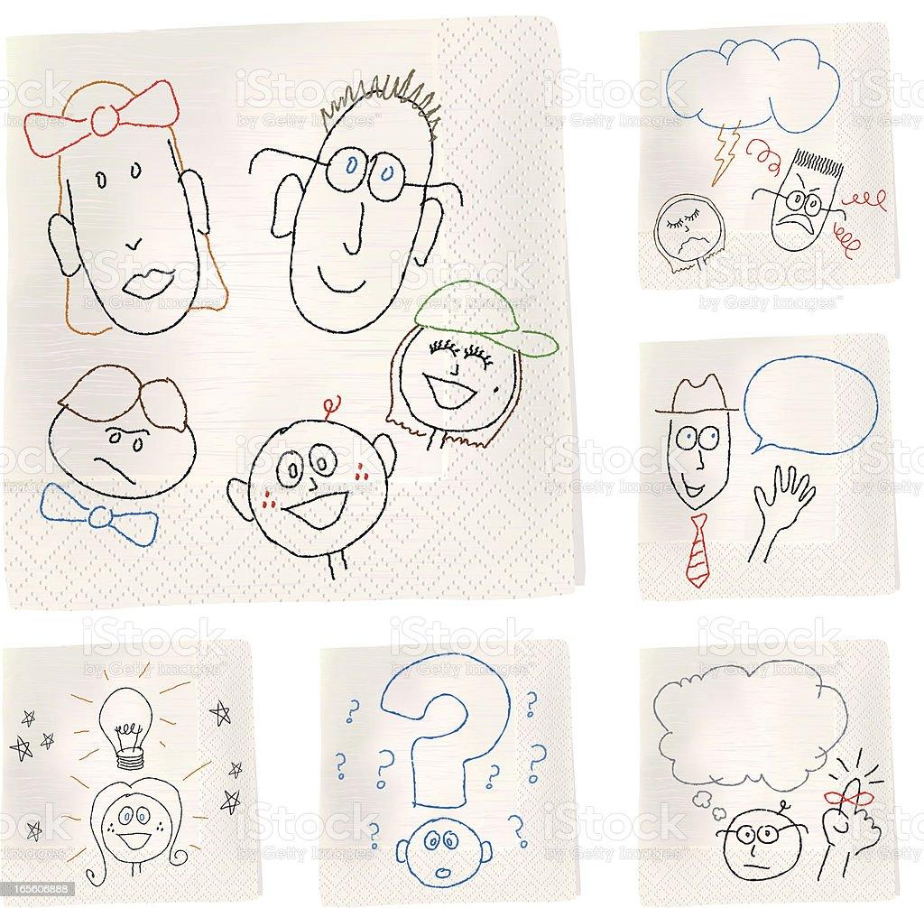 Napkin Sketch - Heads vector art illustration