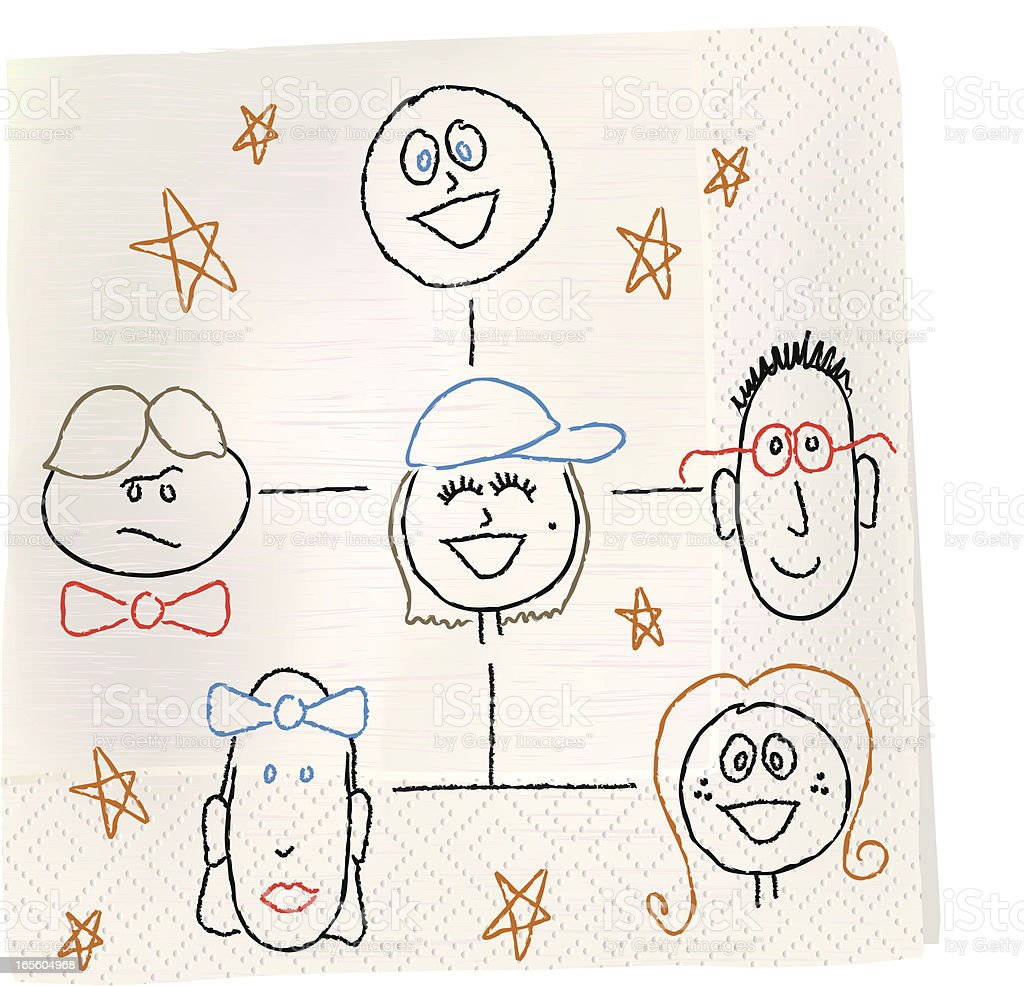 Napkin Sketch - Org Chart royalty-free stock vector art